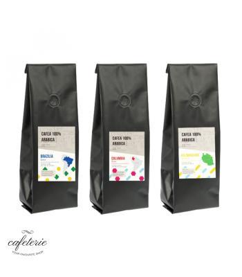 Pachet 3 pungi de cafea boabe Single Origin la 1 kg: Brazilia, Columbia, Kilimanjaro