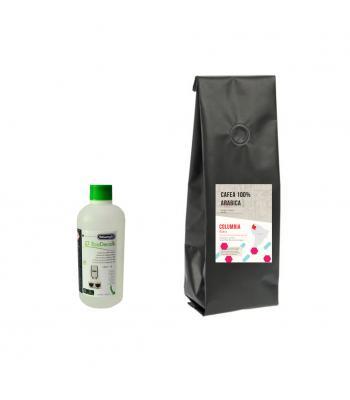Pachet decalcifiant Delonghi 500 ml si Cafea Columbia 1 kg
